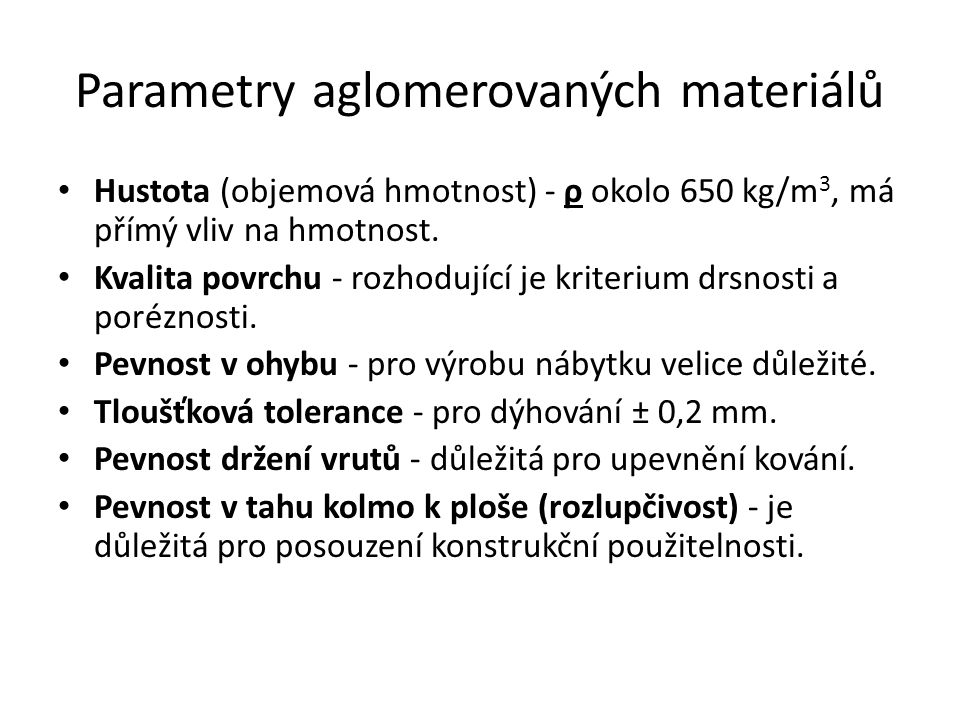 Parametry aglomerovaných materiálů