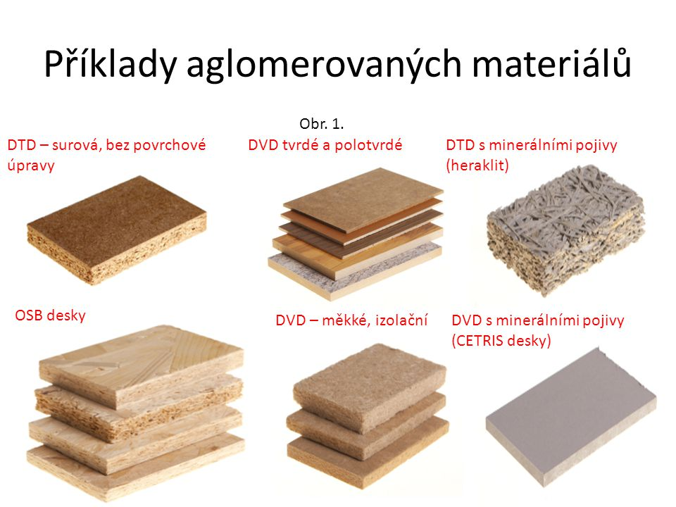 Příklady aglomerovaných materiálů