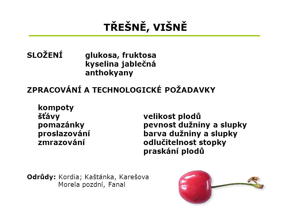 TŘEŠNĚ, VIŠNĚ SLOŽENÍ glukosa, fruktosa kyselina jablečná anthokyany