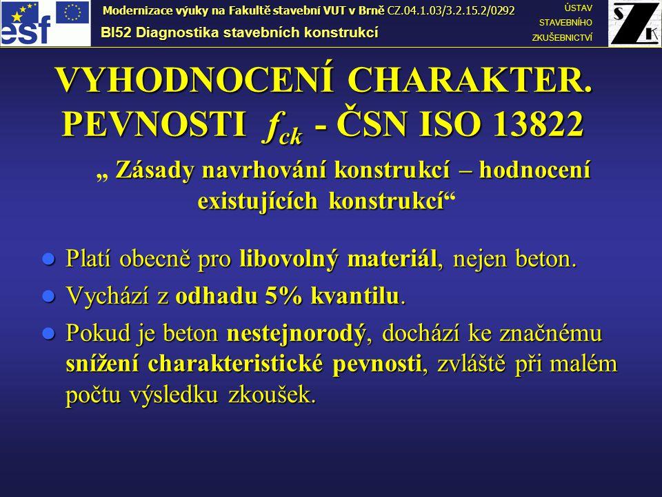 VYHODNOCENÍ CHARAKTER. PEVNOSTI fck - ČSN ISO 13822