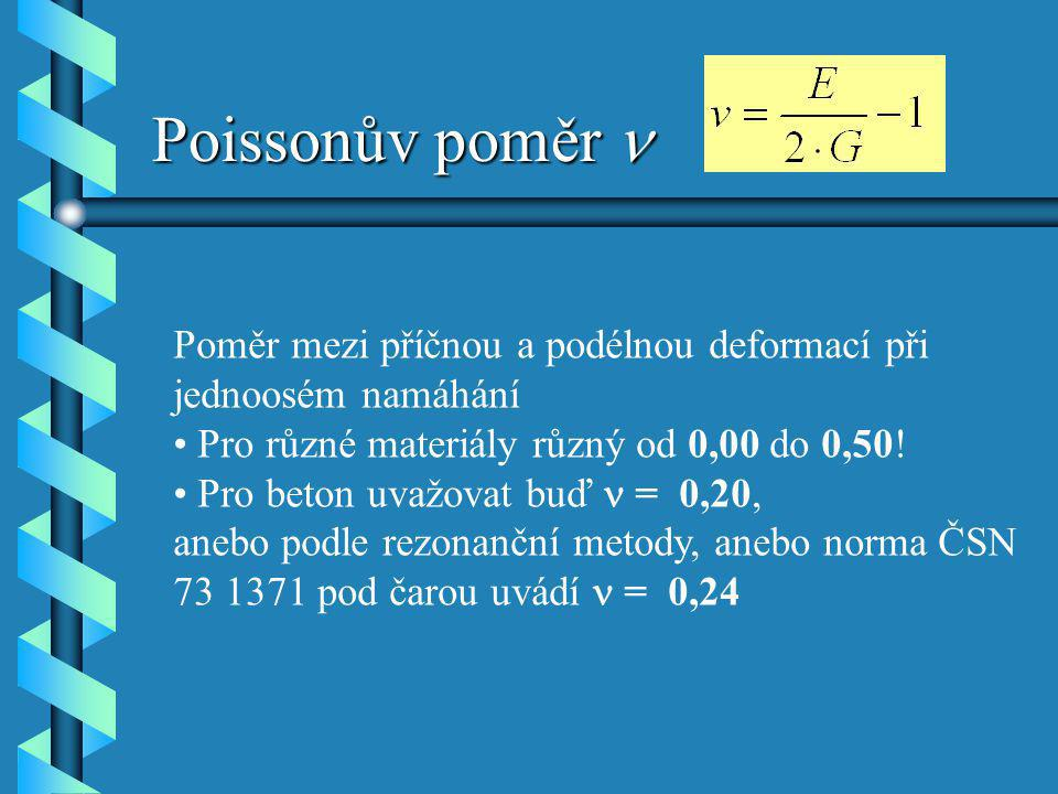 Poissonův poměr n Poměr mezi příčnou a podélnou deformací při jednoosém namáhání. Pro různé materiály různý od 0,00 do 0,50!