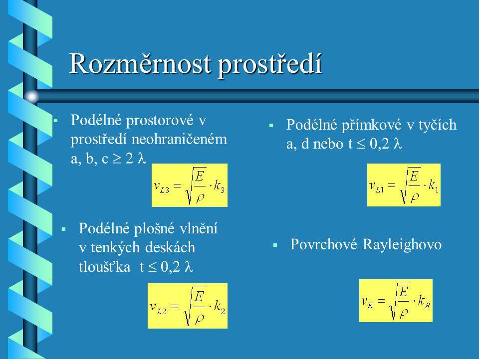 Rozměrnost prostředí Podélné prostorové v prostředí neohraničeném a, b, c  2 l. Podélné přímkové v tyčích a, d nebo t  0,2 l.