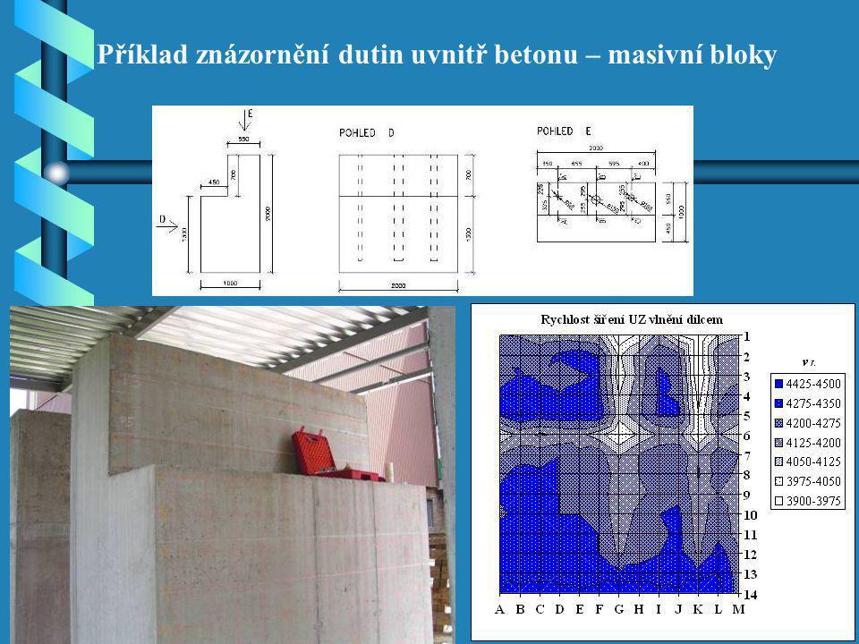 Příklad znázornění dutin uvnitř betonu – masivní bloky