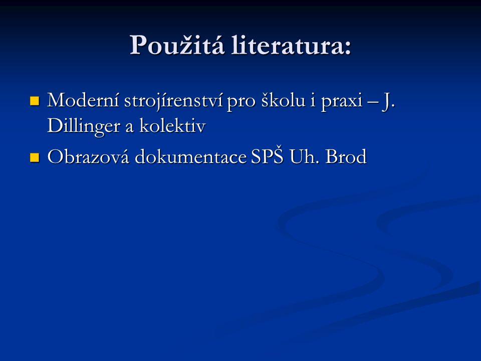 Použitá literatura: Moderní strojírenství pro školu i praxi – J.