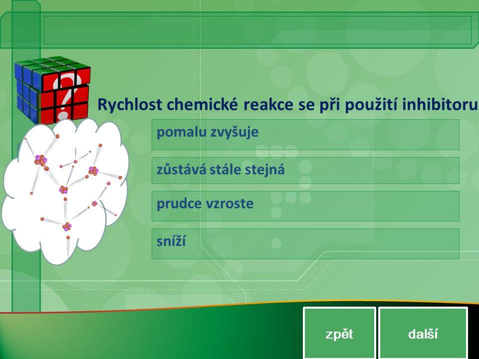 Rychlost chemické reakce se při použití inhibitoru