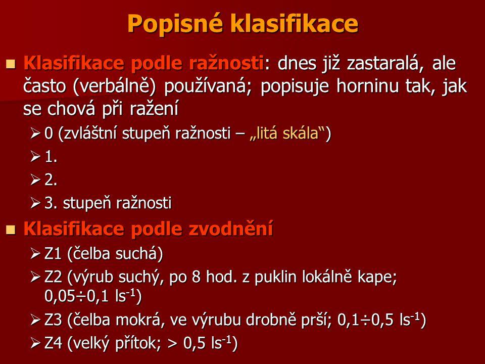 Popisné klasifikace Klasifikace podle ražnosti: dnes již zastaralá, ale často (verbálně) používaná; popisuje horninu tak, jak se chová při ražení.