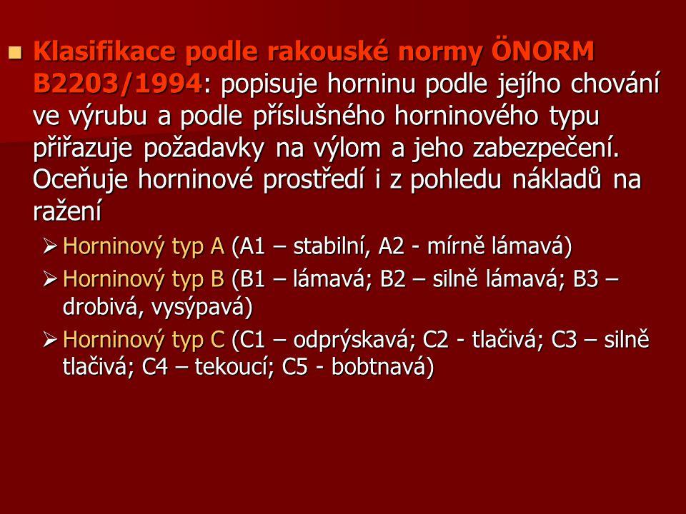 Klasifikace podle rakouské normy ÖNORM B2203/1994: popisuje horninu podle jejího chování ve výrubu a podle příslušného horninového typu přiřazuje požadavky na výlom a jeho zabezpečení. Oceňuje horninové prostředí i z pohledu nákladů na ražení