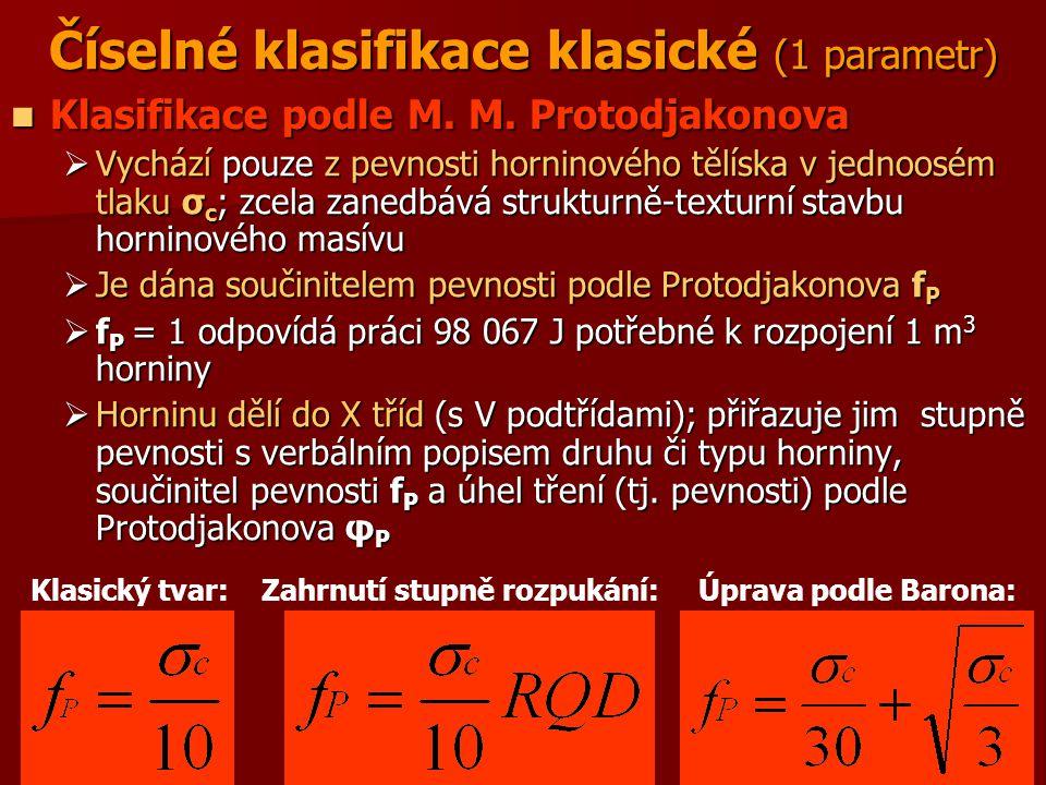 Číselné klasifikace klasické (1 parametr)