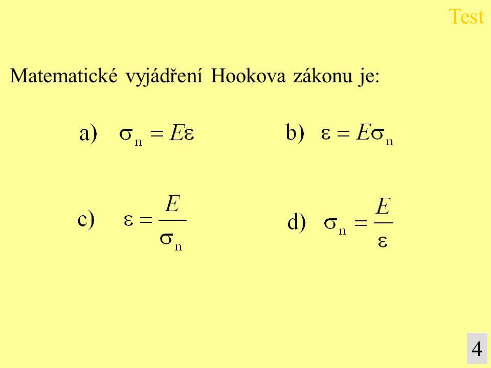 Test Matematické vyjádření Hookova zákonu je: 4