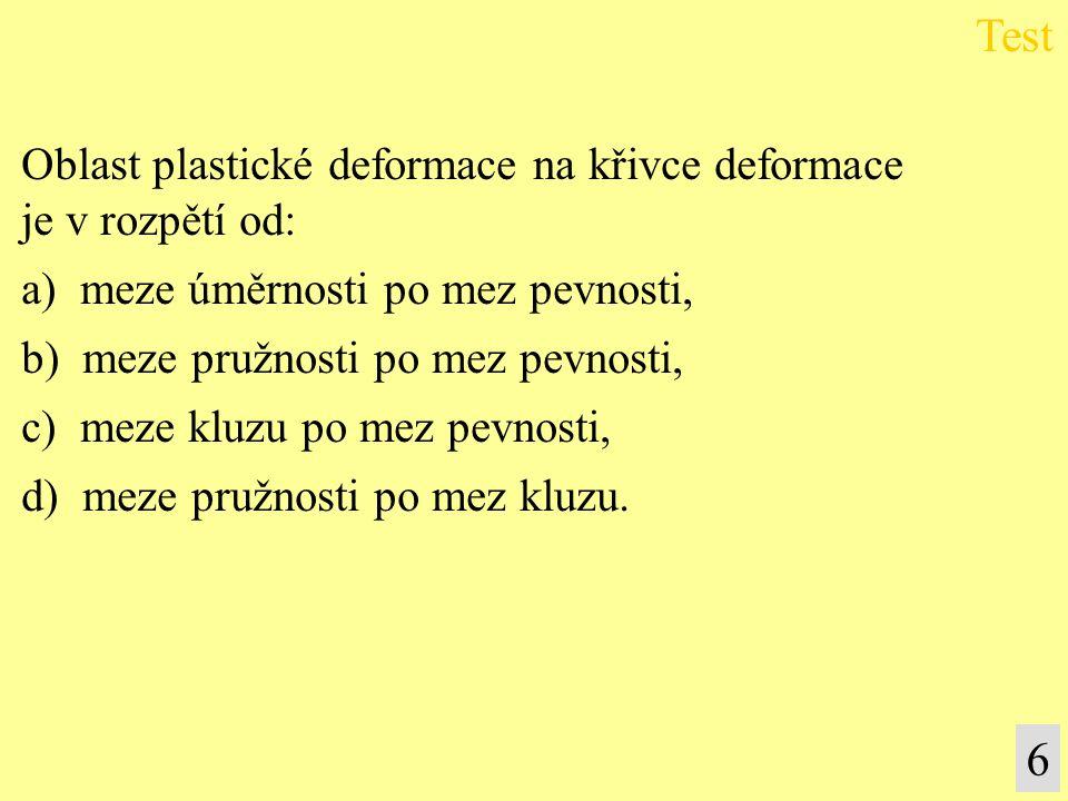 Test 6 Oblast plastické deformace na křivce deformace je v rozpětí od: