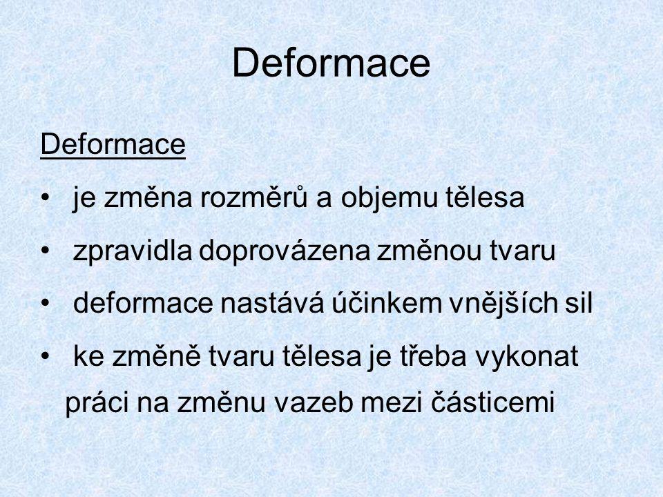 Deformace Deformace je změna rozměrů a objemu tělesa