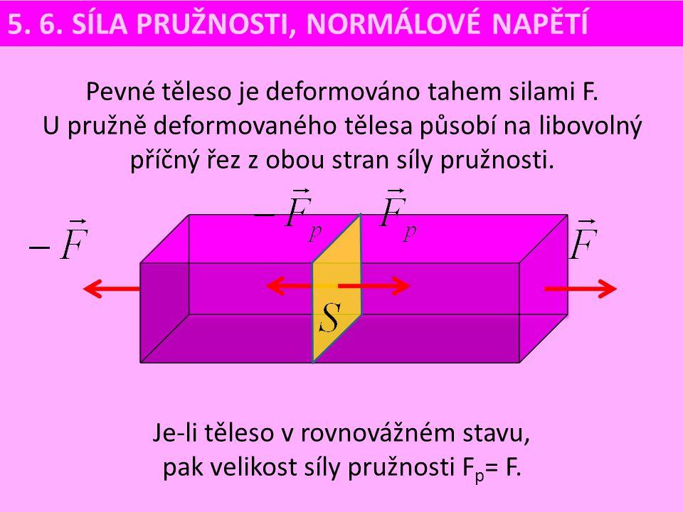 Je-li těleso v rovnovážném stavu, pak velikost síly pružnosti Fp= F.