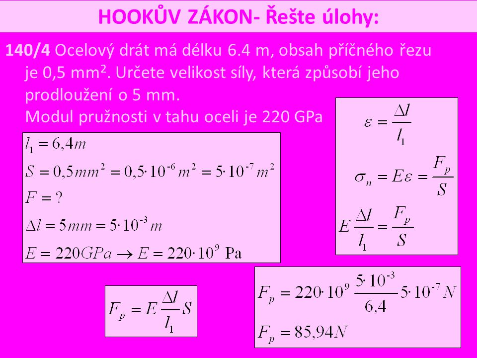 HOOKŮV ZÁKON- Řešte úlohy: