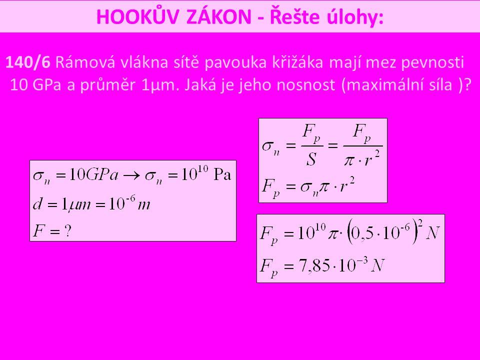 HOOKŮV ZÁKON - Řešte úlohy: