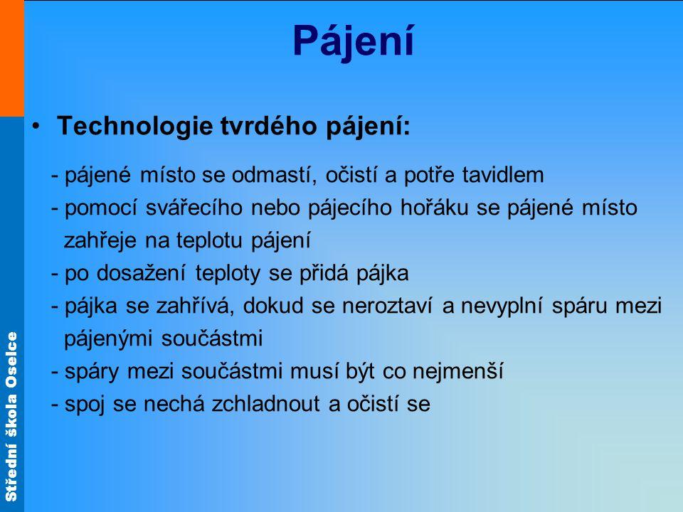 Pájení Technologie tvrdého pájení: