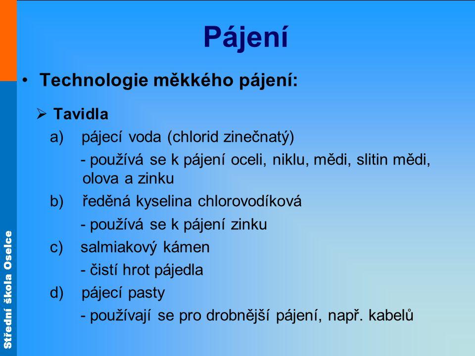 Pájení Technologie měkkého pájení: Tavidla