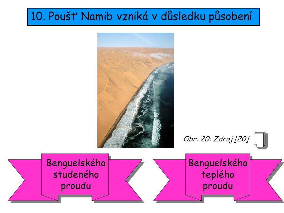 10. Poušť Namib vzniká v důsledku působení