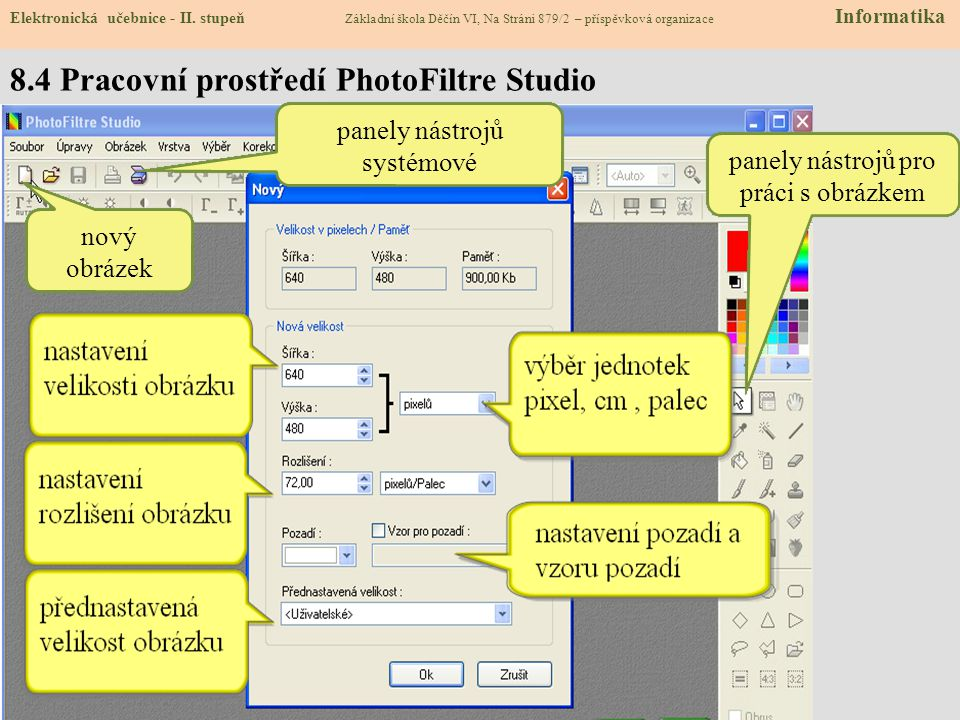 8.4 Pracovní prostředí PhotoFiltre Studio