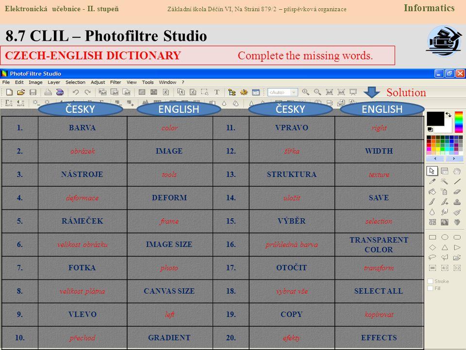 8.7 CLIL – Photofiltre Studio