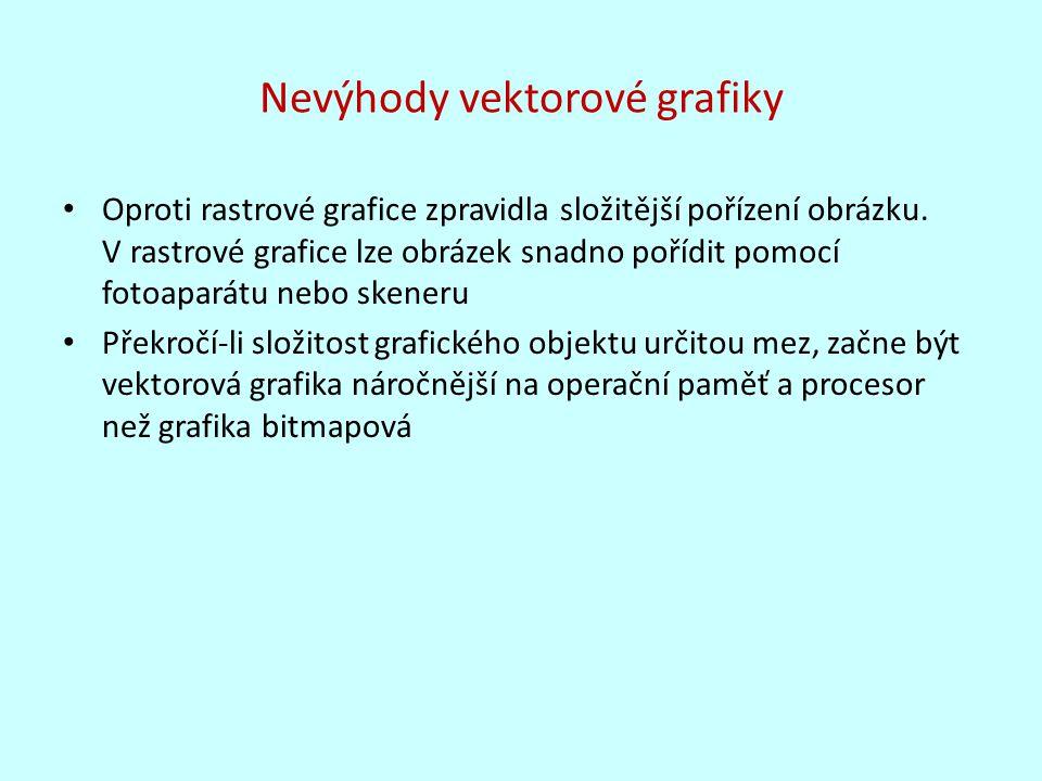 Nevýhody vektorové grafiky