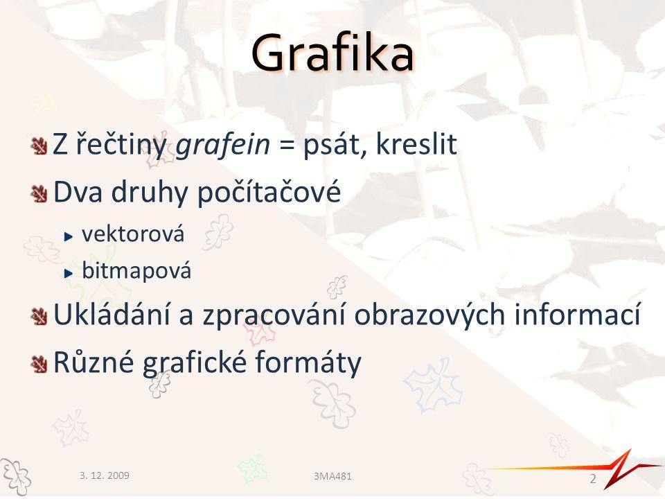Grafika Z řečtiny grafein = psát, kreslit Dva druhy počítačové