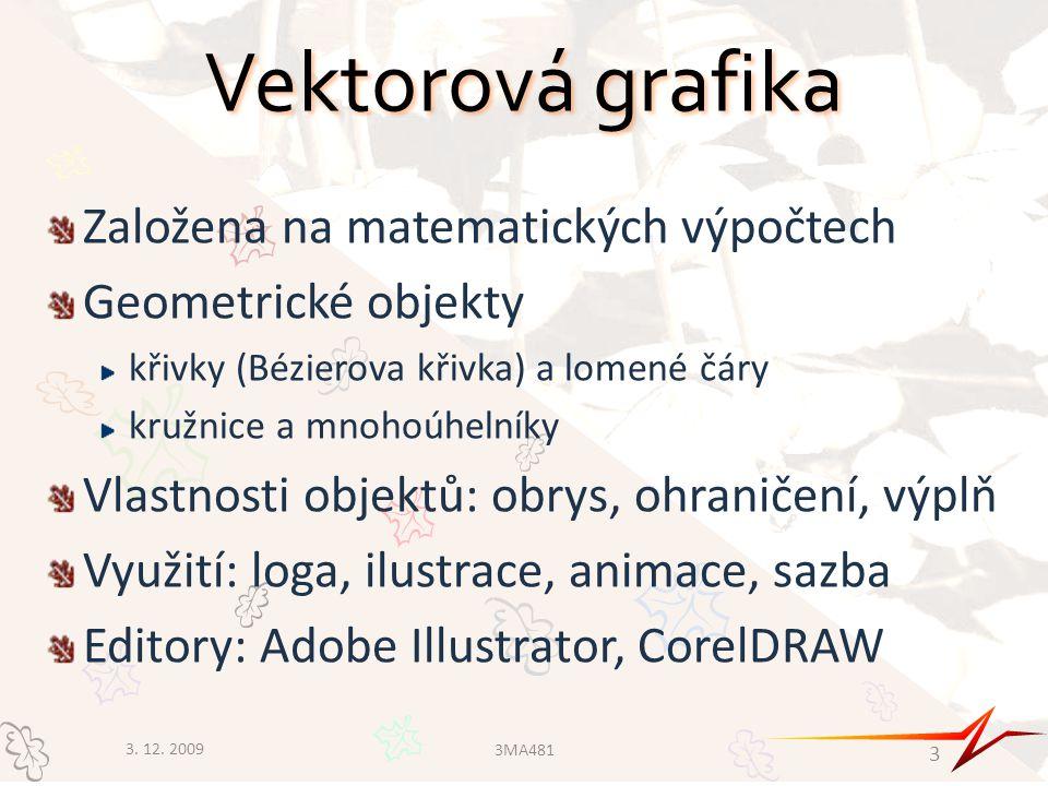 Vektorová grafika Založena na matematických výpočtech