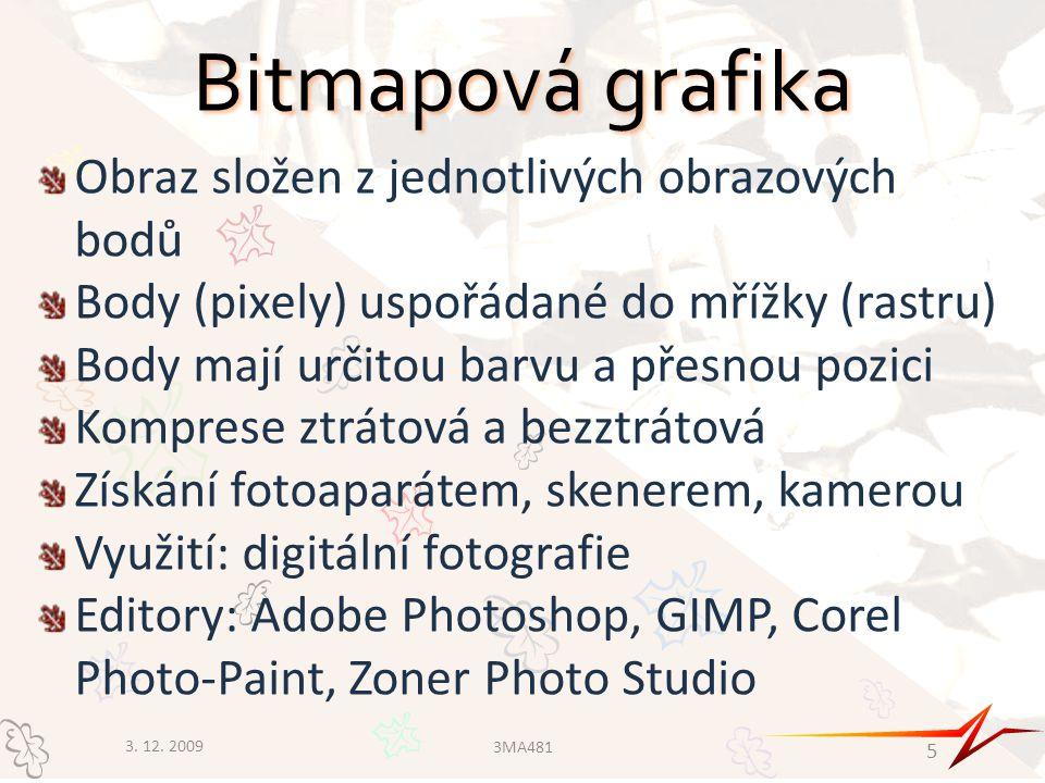Bitmapová grafika Obraz složen z jednotlivých obrazových bodů