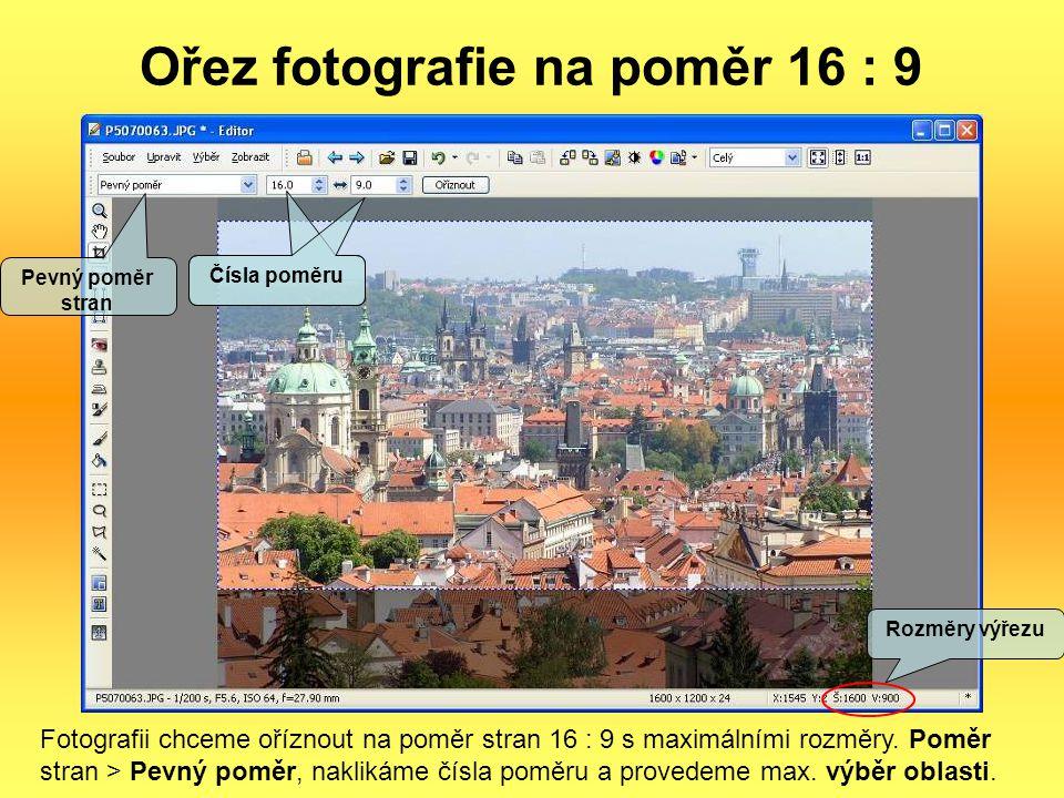 Ořez fotografie na poměr 16 : 9
