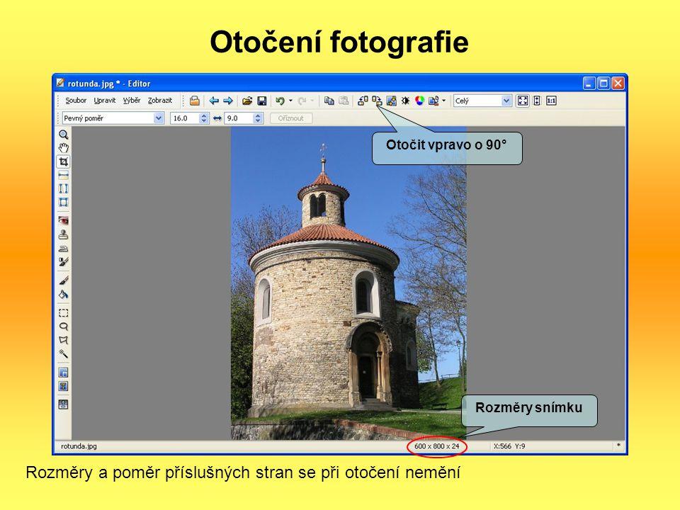 Otočení fotografie Otočit vpravo o 90° Rozměry snímku.