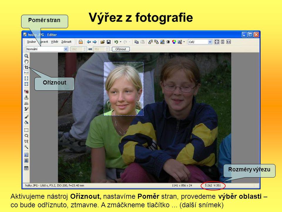 Výřez z fotografie Poměr stran. Oříznout. Rozměry výřezu.