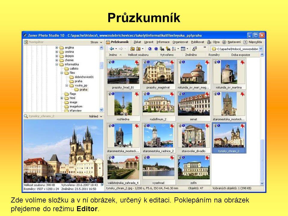 Průzkumník Zde volíme složku a v ní obrázek, určený k editaci.
