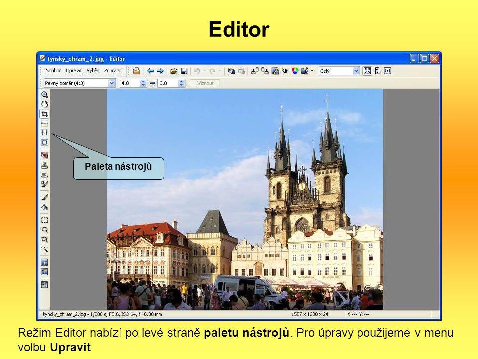 Editor Paleta nástrojů. Režim Editor nabízí po levé straně paletu nástrojů.