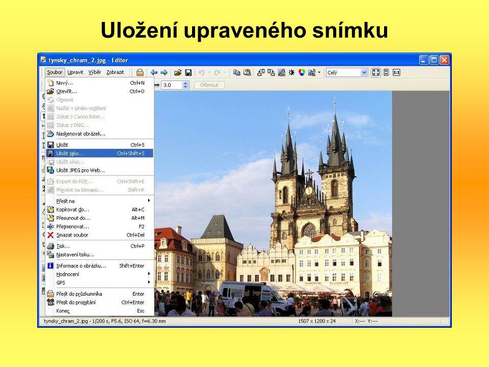 Uložení upraveného snímku