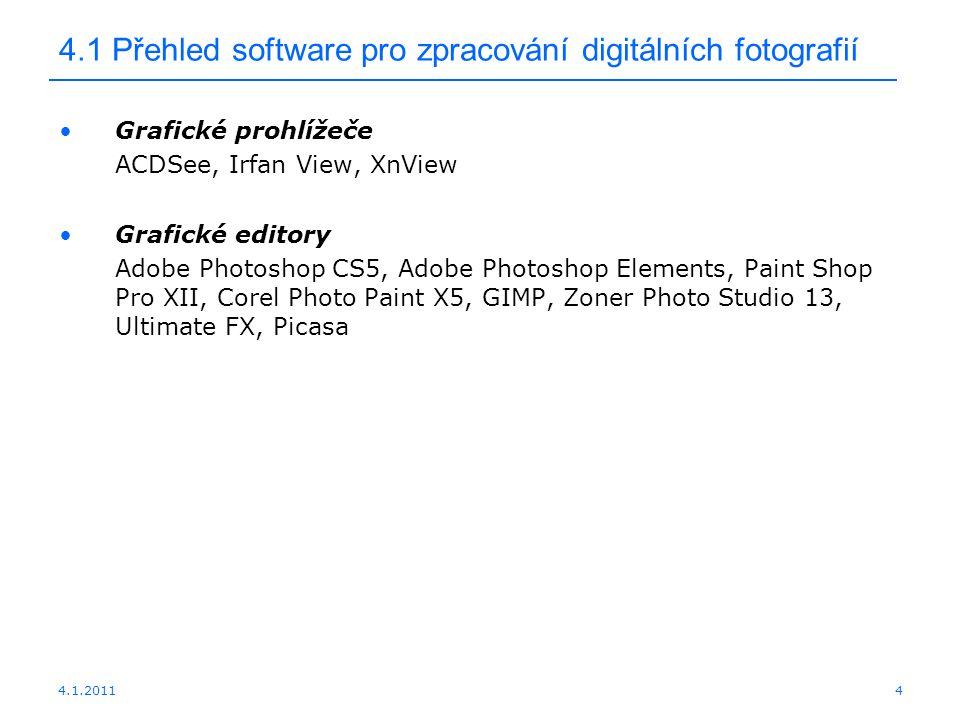 4.1 Přehled software pro zpracování digitálních fotografií