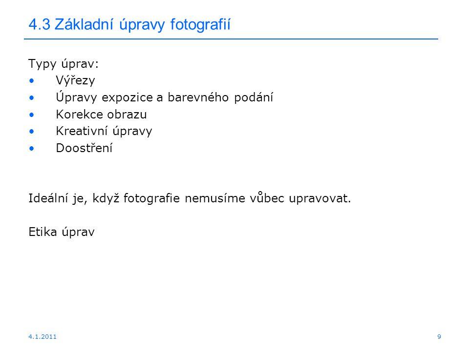 4.3 Základní úpravy fotografií