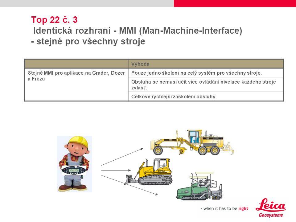 Top 22 č. 3 Identická rozhraní - MMI (Man-Machine-Interface) - stejné pro všechny stroje