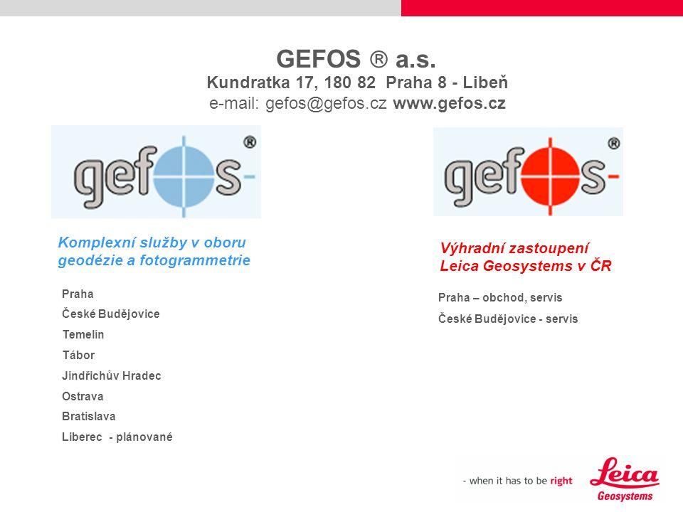 GEFOS  a.s. Kundratka 17, 180 82 Praha 8 - Libeň