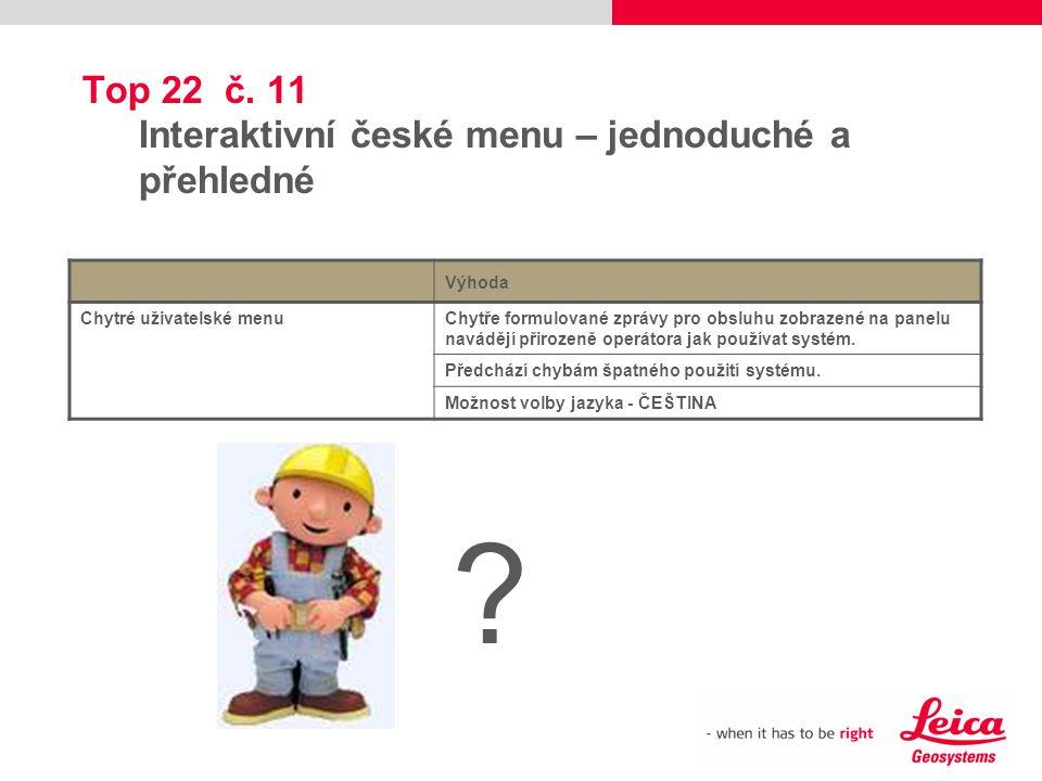 Top 22 č. 11 Interaktivní české menu – jednoduché a přehledné