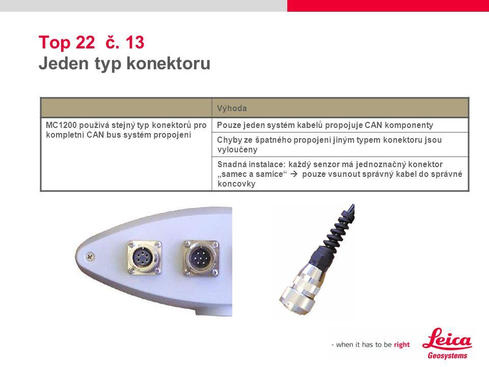 Top 22 č. 13 Jeden typ konektoru