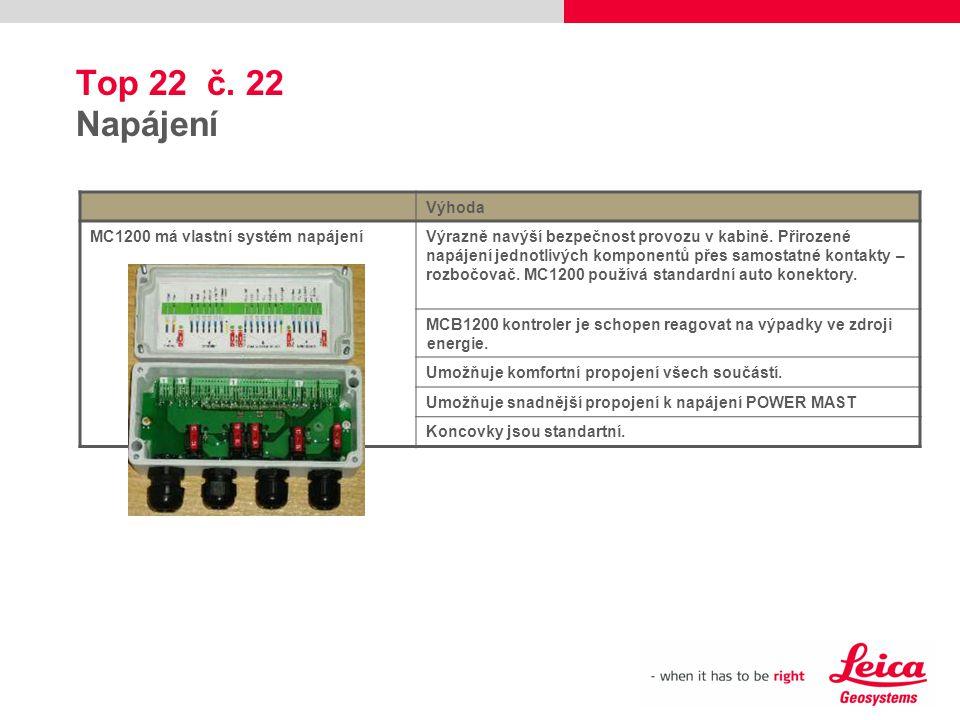 Top 22 č. 22 Napájení Výhoda MC1200 má vlastní systém napájení