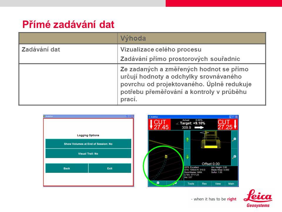 Přímé zadávání dat Výhoda Zadávání dat Vizualizace celého procesu