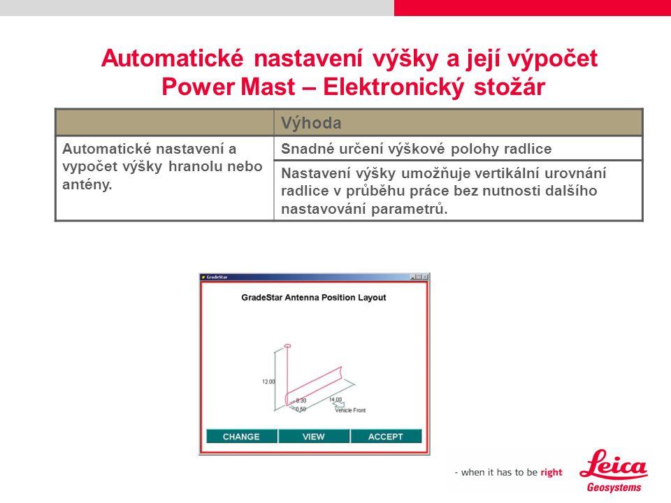 Automatické nastavení výšky a její výpočet Power Mast – Elektronický stožár