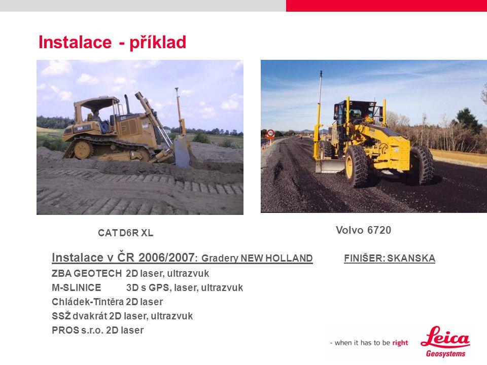 Instalace - příklad Volvo 6720. CAT D6R XL. Instalace v ČR 2006/2007: Gradery NEW HOLLAND FINIŠER: SKANSKA.