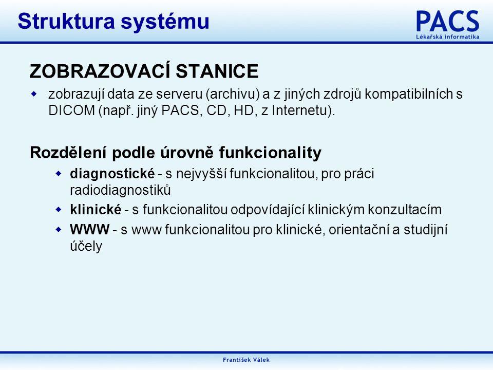 Struktura systému ZOBRAZOVACÍ STANICE