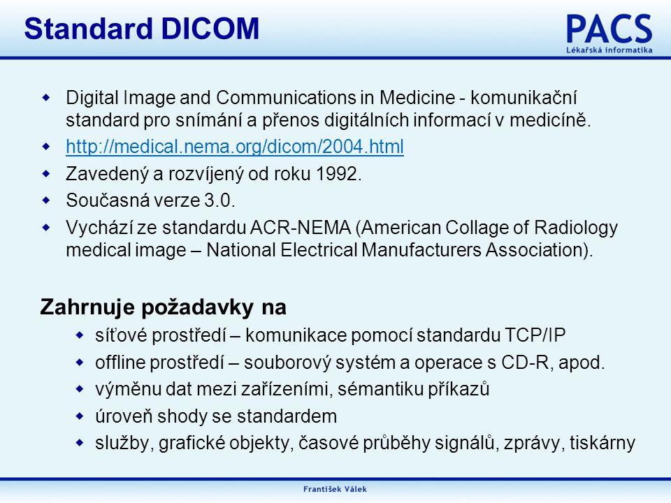Standard DICOM Zahrnuje požadavky na