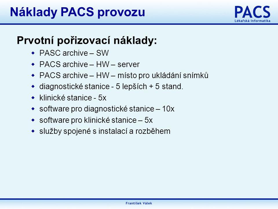 Náklady PACS provozu Prvotní pořizovací náklady: PASC archive – SW