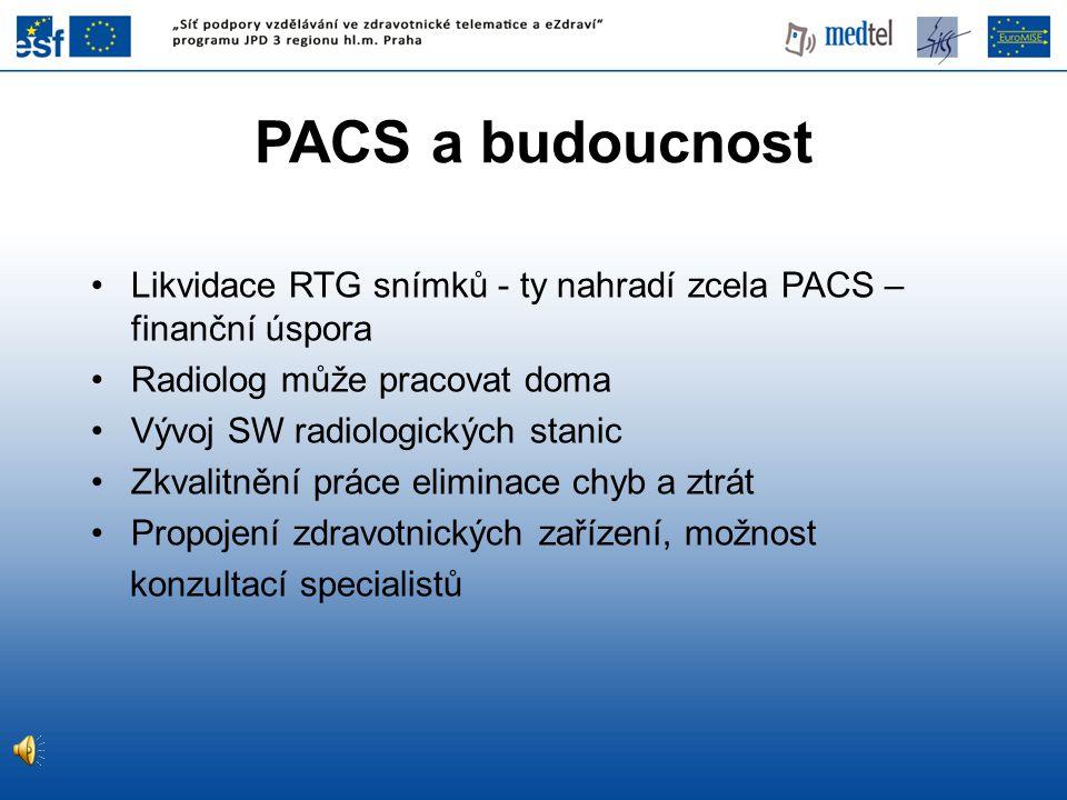PACS a budoucnost Likvidace RTG snímků - ty nahradí zcela PACS – finanční úspora. Radiolog může pracovat doma.