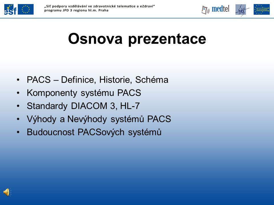 Osnova prezentace PACS – Definice, Historie, Schéma
