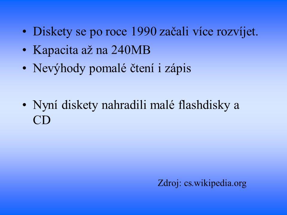 Diskety se po roce 1990 začali více rozvíjet. Kapacita až na 240MB