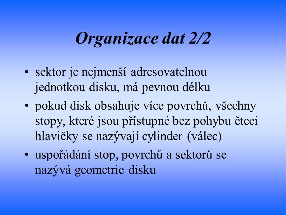 Organizace dat 2/2 sektor je nejmenší adresovatelnou jednotkou disku, má pevnou délku.